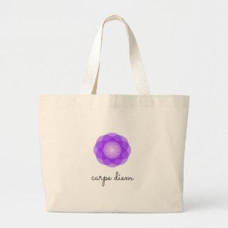 Carpe Diem purple flower Jumbo Tote Bag