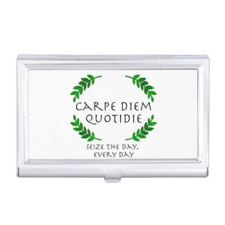 Carpe Diem Quotidie - Seize the day, every day Business Card Holder