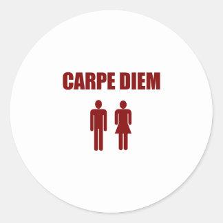 Carpe Diem (red text boy & girl) Round Sticker