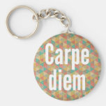 Carpe diem, Seize the day, Colourful Pattern Basic Round Button Key Ring