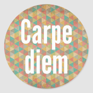 Carpe diem, Seize the day, Colourful Pattern Classic Round Sticker