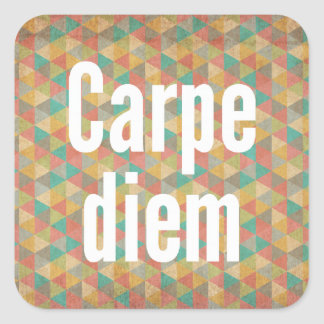 Carpe diem, Seize the day, Colourful Pattern Square Sticker