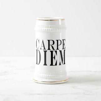 Carpe Diem Seize the Day Latin Quote Happiness Beer Stein