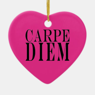 Carpe Diem Seize the Day Latin Quote Happiness Christmas Tree Ornaments