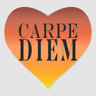 Carpe Diem Seize the Day Latin Quote Happiness Heart Sticker