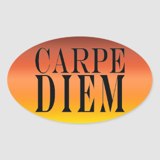 Carpe Diem Seize the Day Latin Quote Happiness Oval Stickers