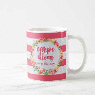 Carpe Diem / Seize The Day Pink Quote Basic White Mug