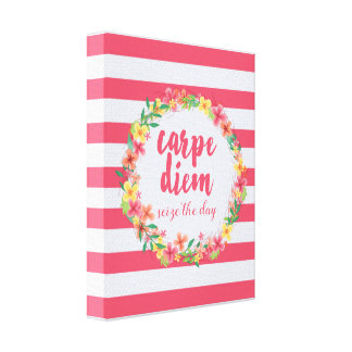 Carpe Diem / Seize The Day Pink Quote Canvas Print