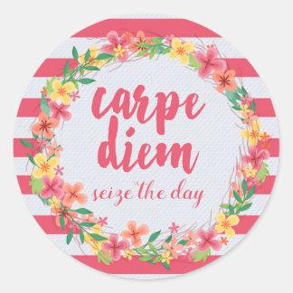 Carpe Diem / Seize The Day Pink Quote Round Sticker