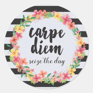 Carpe Diem / Seize The Day Quote Round Sticker
