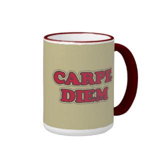 Carpe Diem (seize the day) text design slogan Ringer Coffee Mug