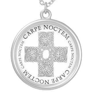 Carpe Noctem Celtic cross Silver Plated Necklace
