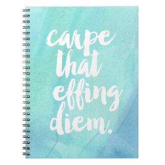 Carpe That Effing Diem | Aqua Spiral Notebook