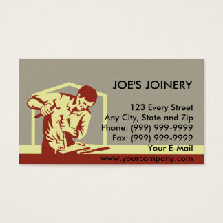 carpenter carving with chisel business card