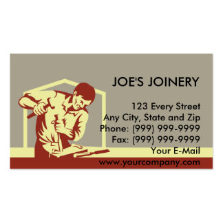 carpenter carving with chisel pack of standard business cards
