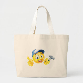 Carpenter Emoji Emoticon with Hammer Large Tote Bag