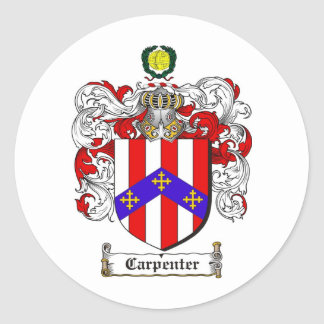 CARPENTER FAMILY CREST -  CARPENTER COAT OF ARMS CLASSIC ROUND STICKER