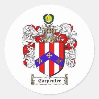 CARPENTER FAMILY CREST -  CARPENTER COAT OF ARMS ROUND STICKER