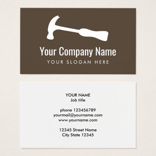 Carpenter hammer logo handyman construction business card