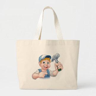 Carpenter Handyman Holding Hammer Large Tote Bag