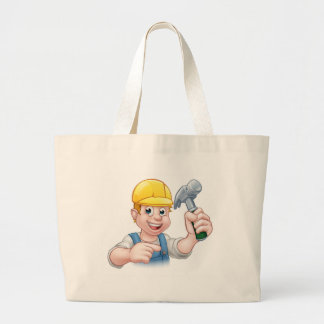 Carpenter Handyman in Hard Hat Holding Hammer Tool Large Tote Bag