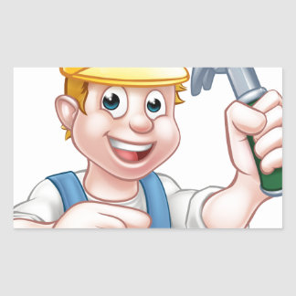 Carpenter Handyman in Hard Hat Holding Hammer Tool Rectangular Sticker
