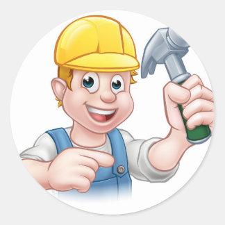 Carpenter Handyman in Hard Hat Holding Hammer Tool Round Sticker