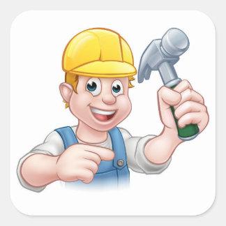Carpenter Handyman in Hard Hat Holding Hammer Tool Square Sticker