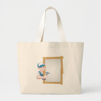 Carpenter Holding Hammer Sign Large Tote Bag