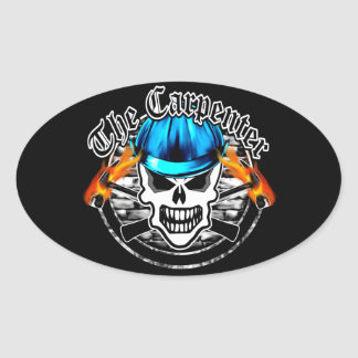 Carpenter Skull and Blue Hard Hat Oval Sticker