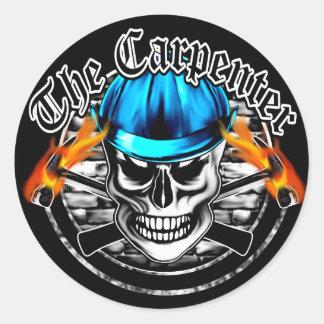 Carpenter Skull and Blue Hard Hat Round Sticker