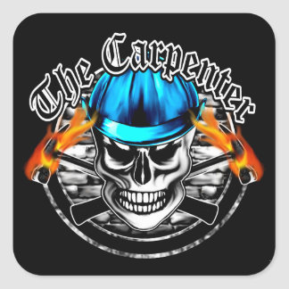 Carpenter Skull and Blue Hard Hat Square Sticker