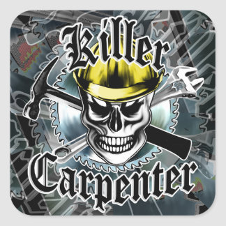 Carpenter Skull with Yellow Hard: Killer Carpenter Square Sticker