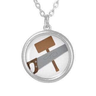 Carpenter Tools Round Pendant Necklace