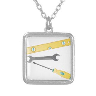 Carpenter Tools Square Pendant Necklace