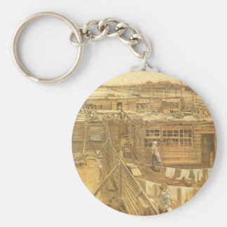 Carpenter's Yard and Laundry by Vincent van Gogh Basic Round Button Key Ring
