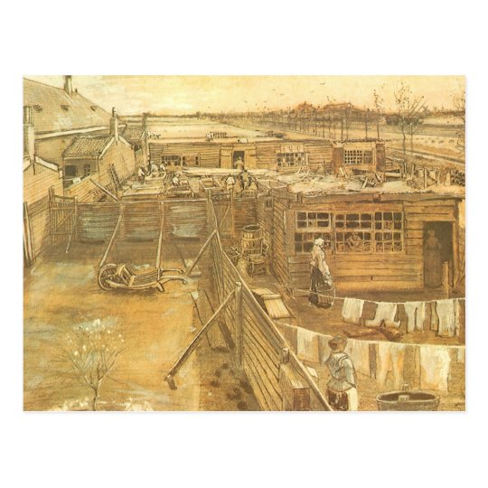 Carpenter's Yard and Laundry by Vincent van Gogh Postcard