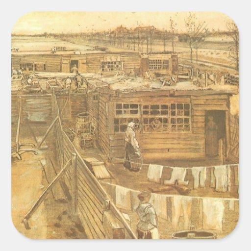 Carpenters Yard and Laundry, van Gogh, Vintage Art Square Sticker