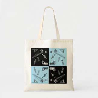 Carpentry Tools in Blue and Black Tiles Tote Bag