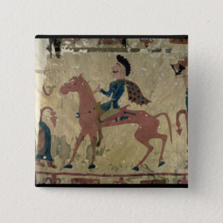 Carpet depicting a mounted warrior 15 cm square badge