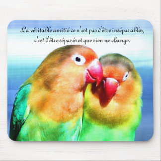 "carpet-of-mouse ""parakeets"", friendship quotation mouse pad"