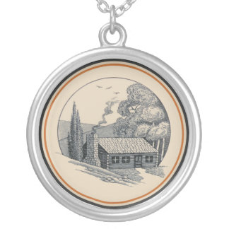 Carr China's WV State Parks Design: Log Cabin Silver Plated Necklace