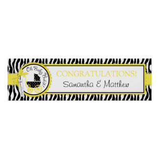 Carraige Zebra Print Yellow Baby Shower Banner