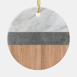 Carrara Marble, Concrete, and Teak Wood Abstract Christmas Ornament
