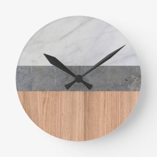 Carrara Marble, Concrete, and Teak Wood Abstract Round Clock