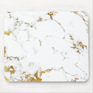 Carrara Minimal Lux Gold White Gray Marble Mouse Mat