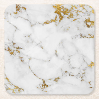 Carrara White Gold Marble Gray  Square Coasters
