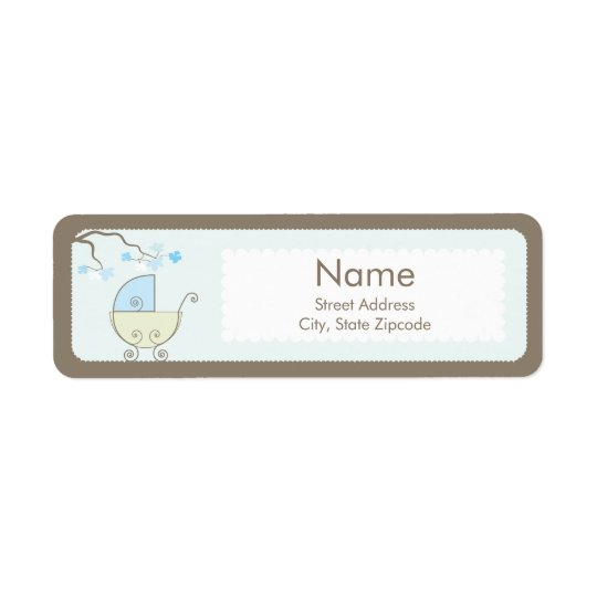 Carriage Baby Shower Addess Label - Blue & Green
