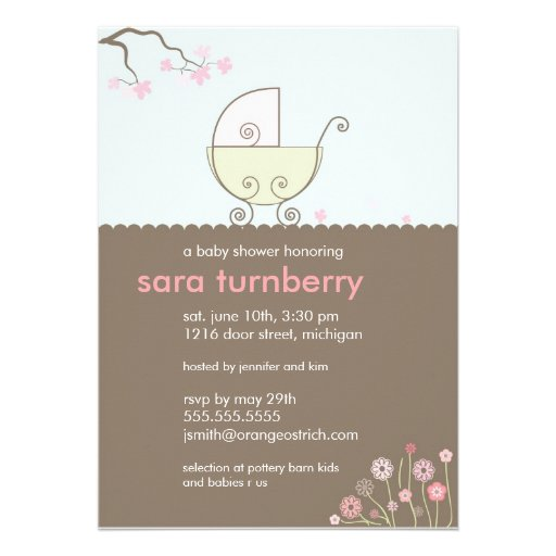 Carriage Baby Shower Invitation - Pink and Green