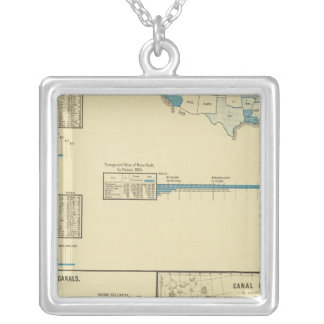 Carriage by water, canals, canal routes silver plated necklace